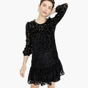J. Crew Black Leopard Velvet Print Dress sz 8T